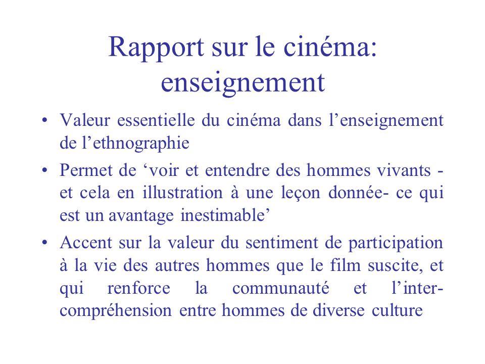 Rapport sur le cinéma: enseignement Valeur essentielle du cinéma dans lenseignement de lethnographie Permet de voir et entendre des hommes vivants - e