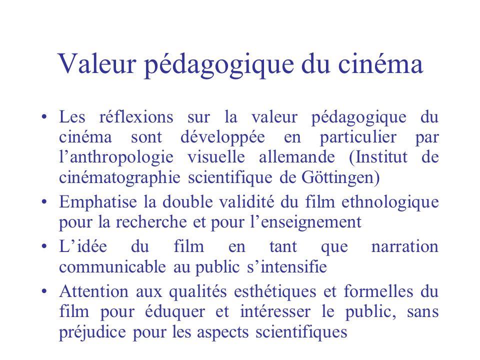 Valeur pédagogique du cinéma Les réflexions sur la valeur pédagogique du cinéma sont développée en particulier par lanthropologie visuelle allemande (
