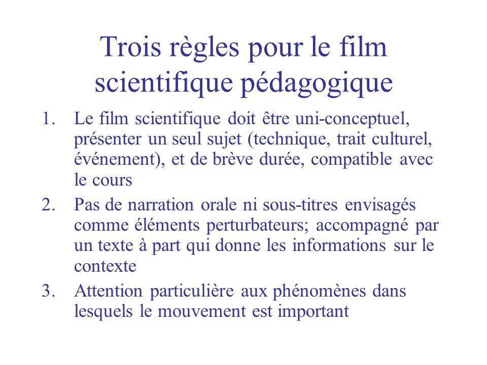 Trois règles pour le film scientifique pédagogique 1.Le film scientifique doit être uni-conceptuel, présenter un seul sujet (technique, trait culturel