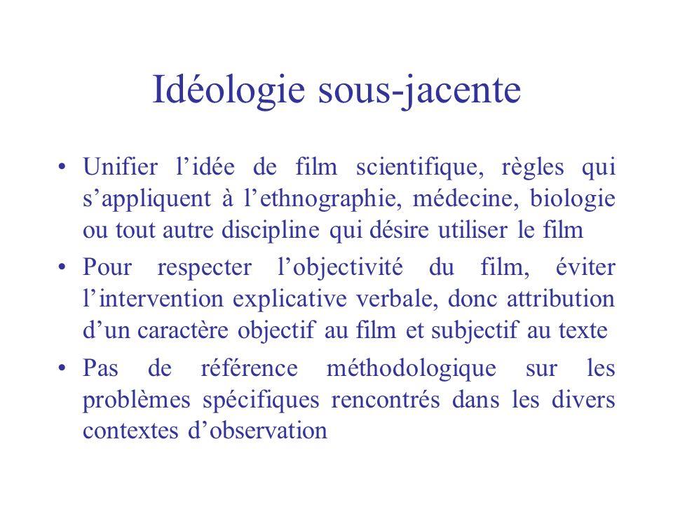 Idéologie sous-jacente Unifier lidée de film scientifique, règles qui sappliquent à lethnographie, médecine, biologie ou tout autre discipline qui dés
