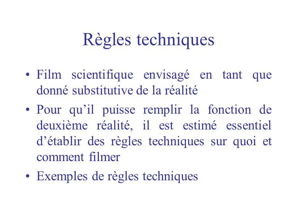 Règles techniques Film scientifique envisagé en tant que donné substitutive de la réalité Pour quil puisse remplir la fonction de deuxième réalité, il