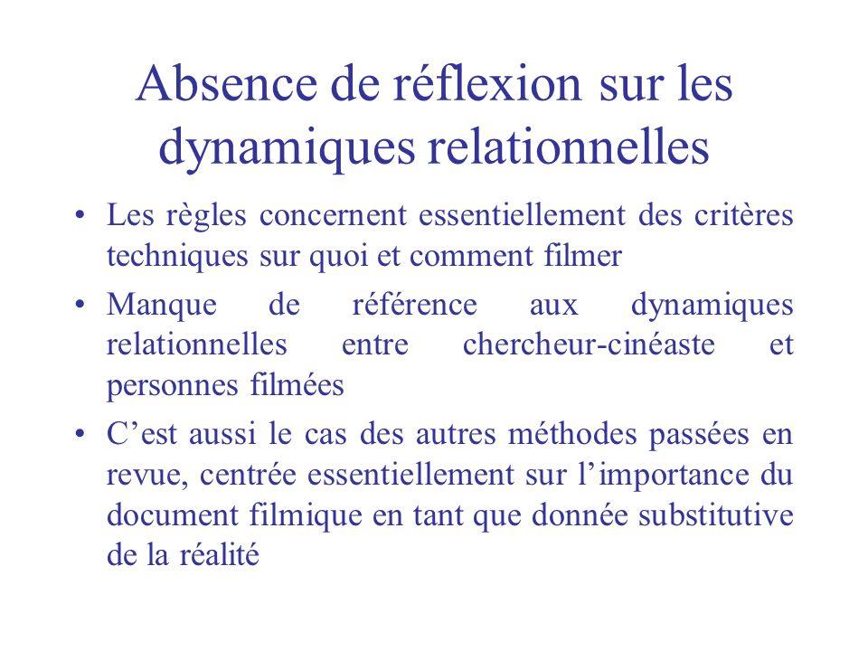 Absence de réflexion sur les dynamiques relationnelles Les règles concernent essentiellement des critères techniques sur quoi et comment filmer Manque