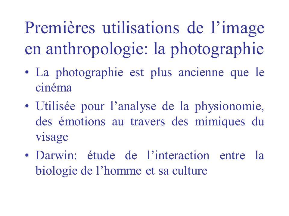 Premières utilisations de limage en anthropologie: la photographie La photographie est plus ancienne que le cinéma Utilisée pour lanalyse de la physio