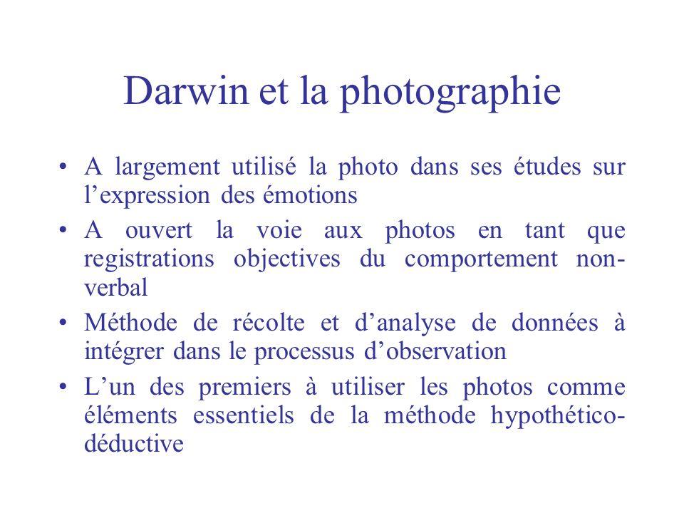Darwin et la photographie A largement utilisé la photo dans ses études sur lexpression des émotions A ouvert la voie aux photos en tant que registrati