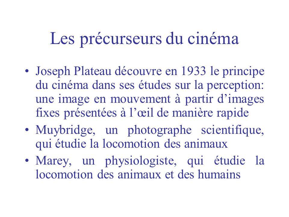 Les précurseurs du cinéma Joseph Plateau découvre en 1933 le principe du cinéma dans ses études sur la perception: une image en mouvement à partir dim