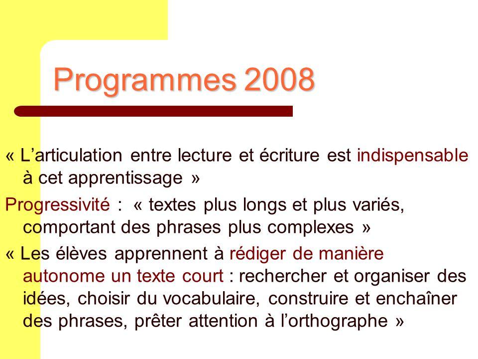 Programmes 2008 « Larticulation entre lecture et écriture est indispensable à cet apprentissage » Progressivité : « textes plus longs et plus variés,