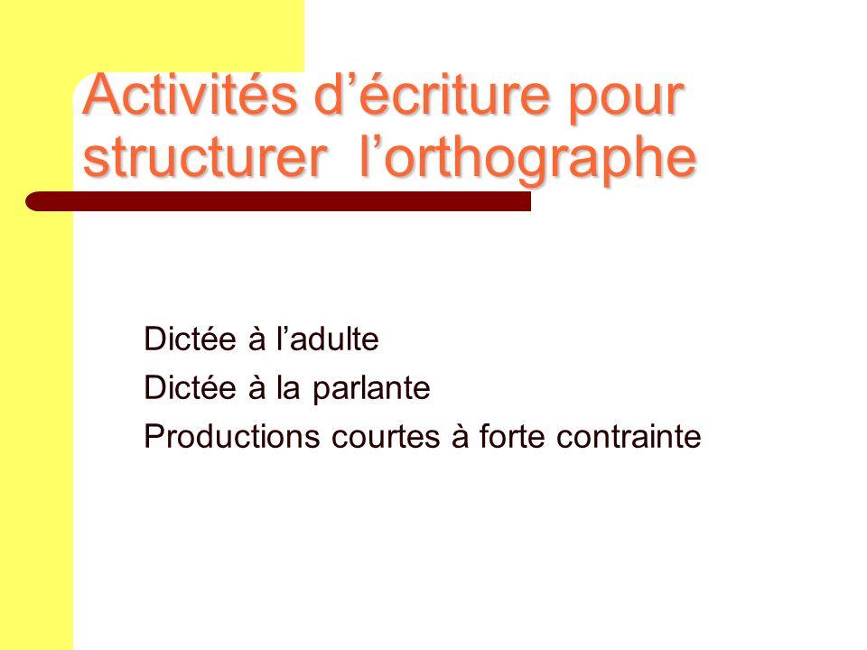 Dictée à ladulte Dictée à la parlante Productions courtes à forte contrainte Activités décriture pour structurer lorthographe