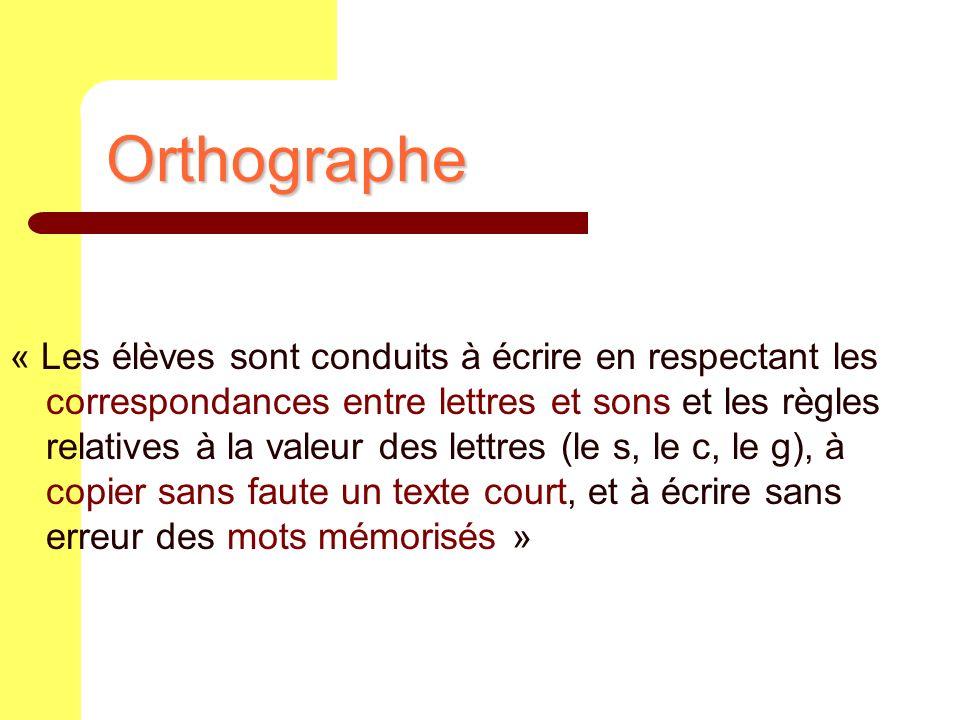 Orthographe « Les élèves sont conduits à écrire en respectant les correspondances entre lettres et sons et les règles relatives à la valeur des lettre