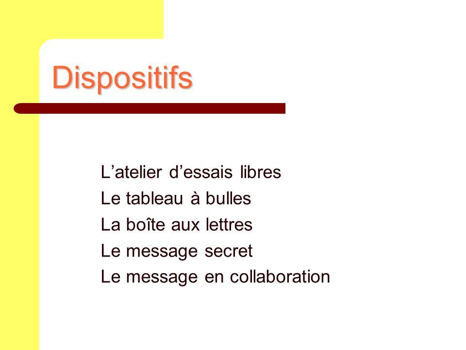Dispositifs Latelier dessais libres Le tableau à bulles La boîte aux lettres Le message secret Le message en collaboration