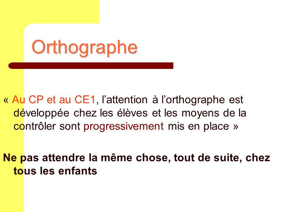 Orthographe « Au CP et au CE1, lattention à lorthographe est développée chez les élèves et les moyens de la contrôler sont progressivement mis en plac