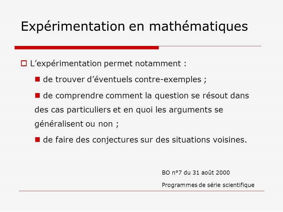 Expérimentation en mathématiques Lexpérimentation permet notamment : de trouver déventuels contre-exemples ; de comprendre comment la question se réso