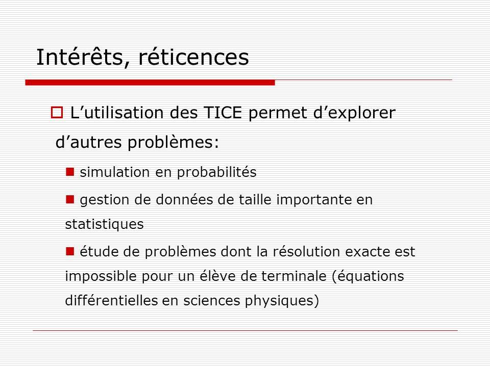 Intérêts, réticences Lutilisation des TICE permet dexplorer dautres problèmes: simulation en probabilités gestion de données de taille importante en s