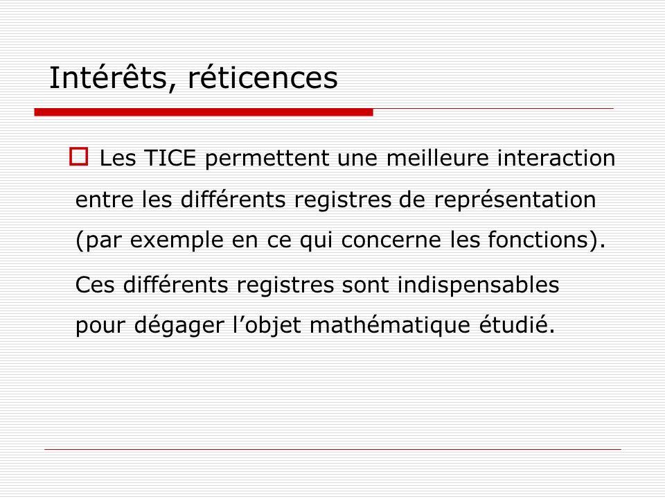 Intérêts, réticences Les TICE permettent une meilleure interaction entre les différents registres de représentation (par exemple en ce qui concerne le