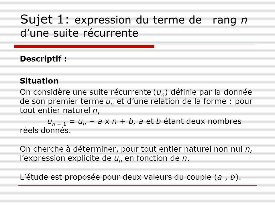 Sujet 1: expression du terme de rang n dune suite récurrente Descriptif : Situation On considère une suite récurrente (u n ) définie par la donnée de