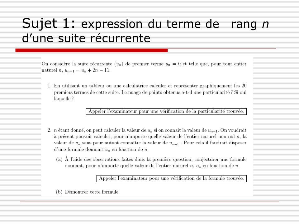 Sujet 1: expression du terme de rang n dune suite récurrente