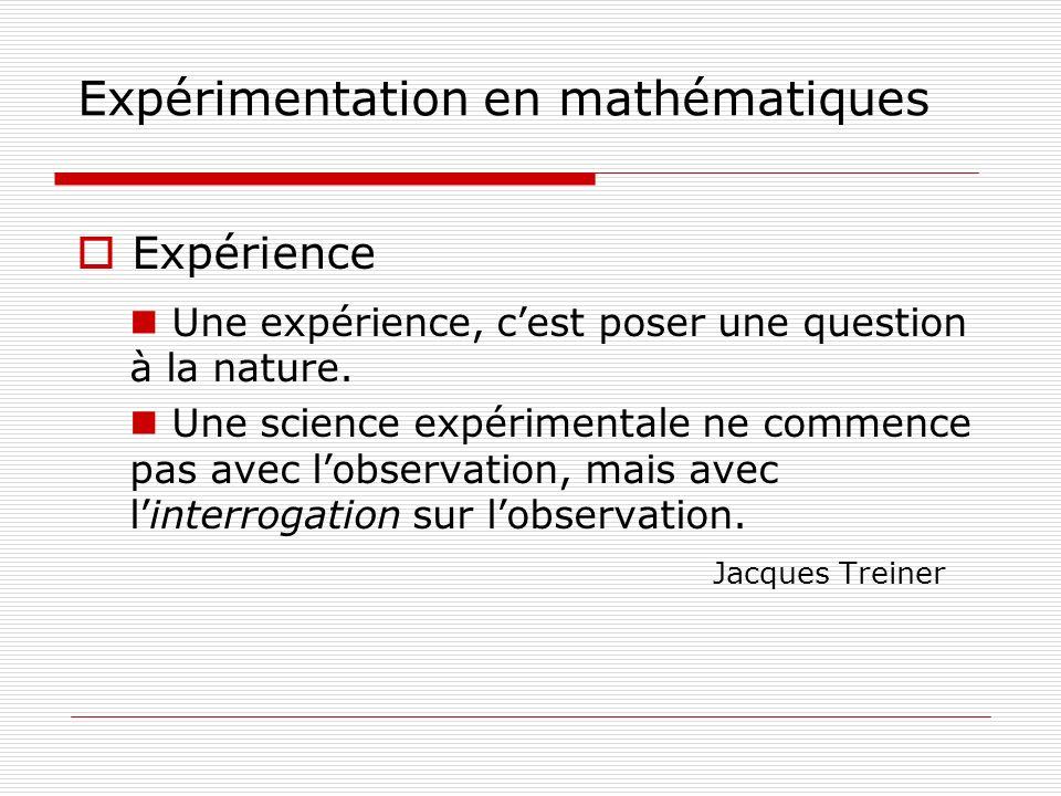 Expérimentation en mathématiques Expérience Une expérience, cest poser une question à la nature. Une science expérimentale ne commence pas avec lobser