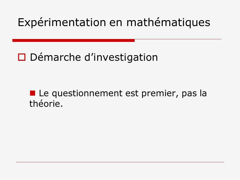 Expérimentation en mathématiques Démarche dinvestigation Le questionnement est premier, pas la théorie.