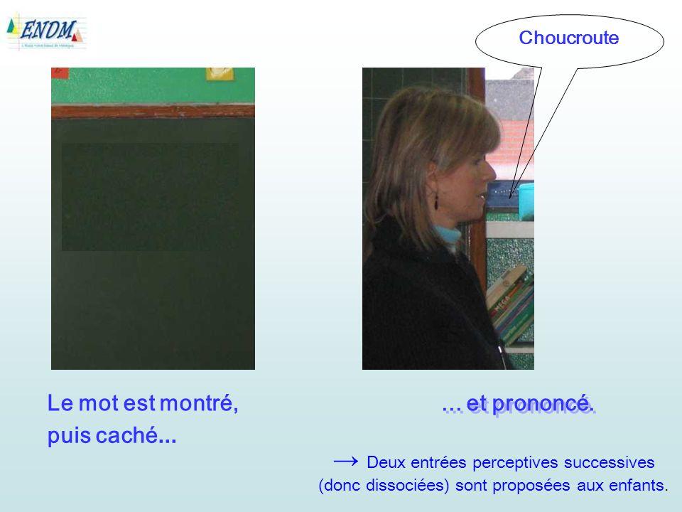 Le mot est montré, Choucroute... et prononcé.