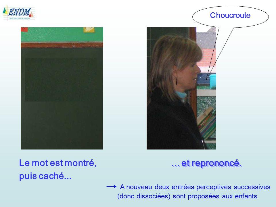 Le mot est montré, Choucroute... et reprononcé.