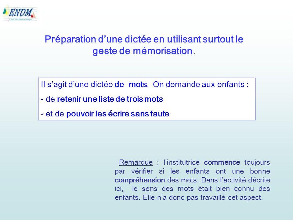 Préparation dune dictée en utilisant surtout le geste de mémorisation.