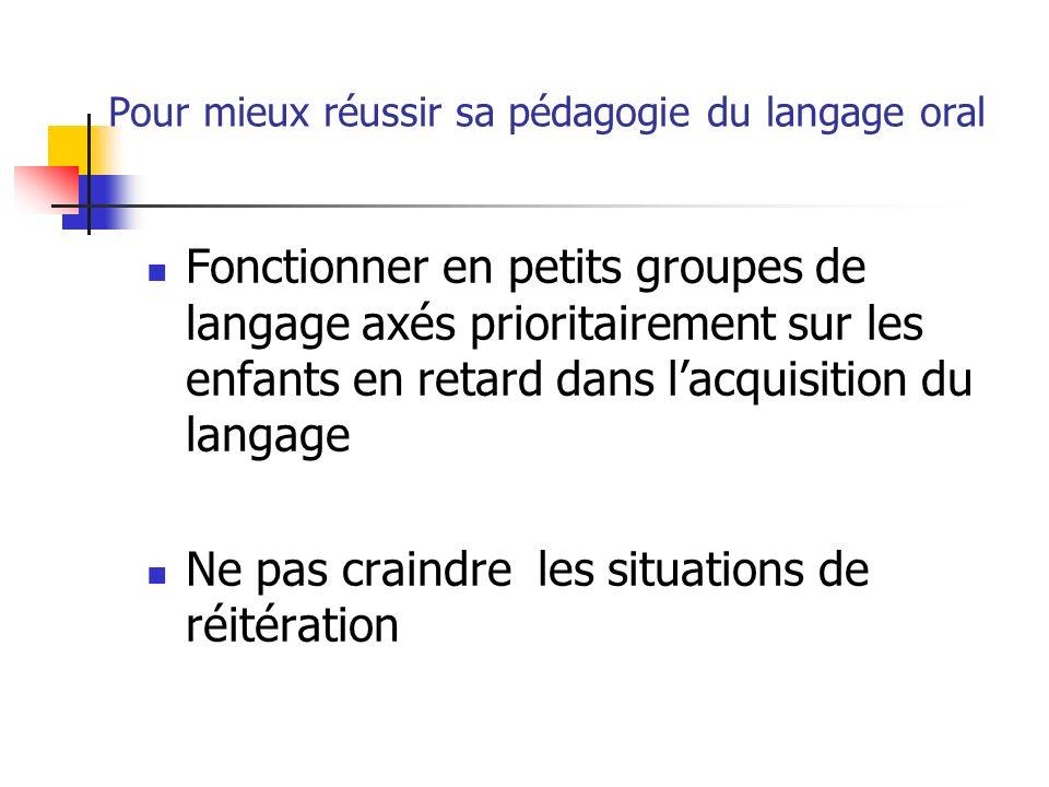 Pour mieux réussir sa pédagogie du langage oral Fonctionner en petits groupes de langage axés prioritairement sur les enfants en retard dans lacquisit