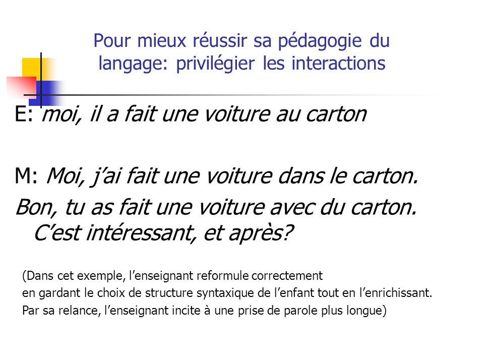 Pour mieux réussir sa pédagogie du langage: privilégier les interactions E: moi, il a fait une voiture au carton M: Moi, jai fait une voiture dans le