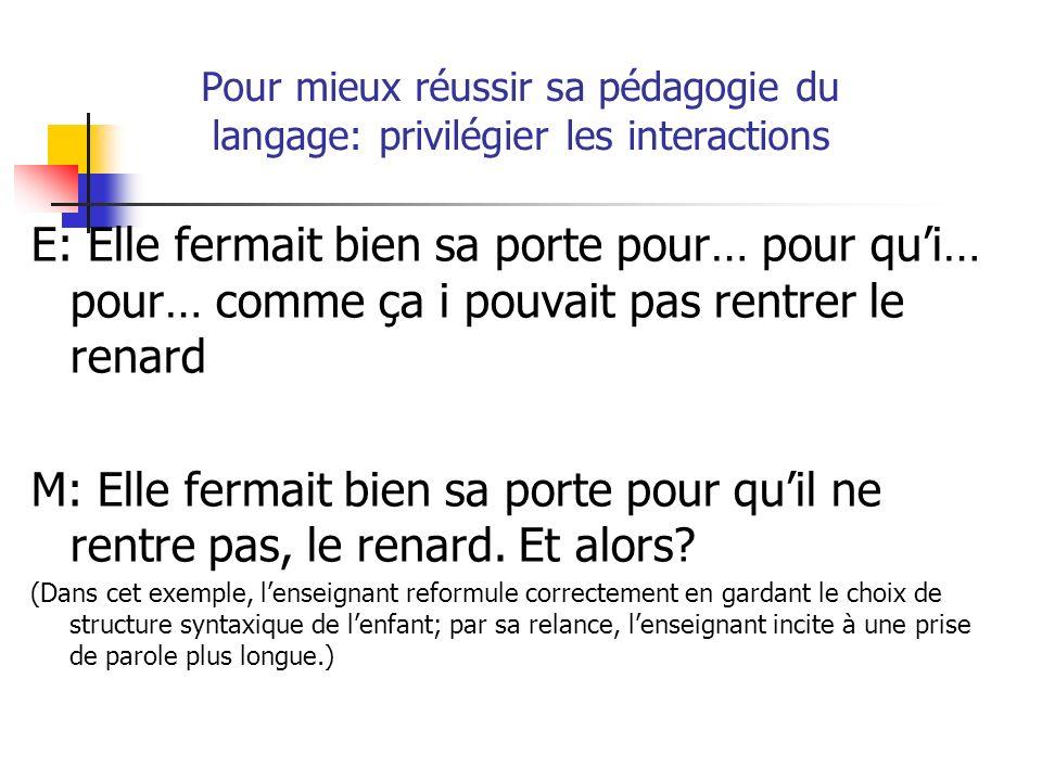 Pour mieux réussir sa pédagogie du langage: privilégier les interactions E: Elle fermait bien sa porte pour… pour qui… pour… comme ça i pouvait pas re