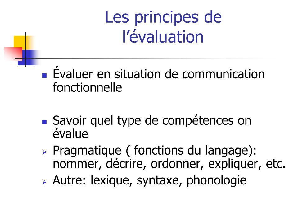 Les principes de lévaluation Évaluer en situation de communication fonctionnelle Savoir quel type de compétences on évalue Pragmatique ( fonctions du