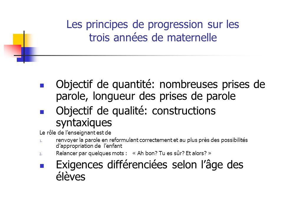 Les principes de progression sur les trois années de maternelle Objectif de quantité: nombreuses prises de parole, longueur des prises de parole Objec
