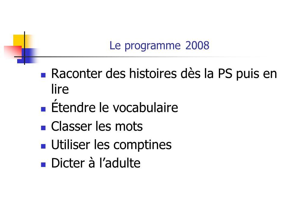Le programme 2008 Raconter des histoires dès la PS puis en lire Étendre le vocabulaire Classer les mots Utiliser les comptines Dicter à ladulte