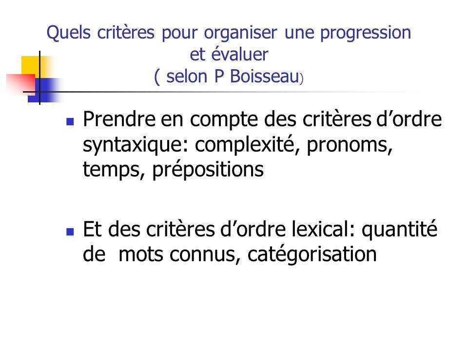 Quels critères pour organiser une progression et évaluer ( selon P Boisseau ) Prendre en compte des critères dordre syntaxique: complexité, pronoms, t