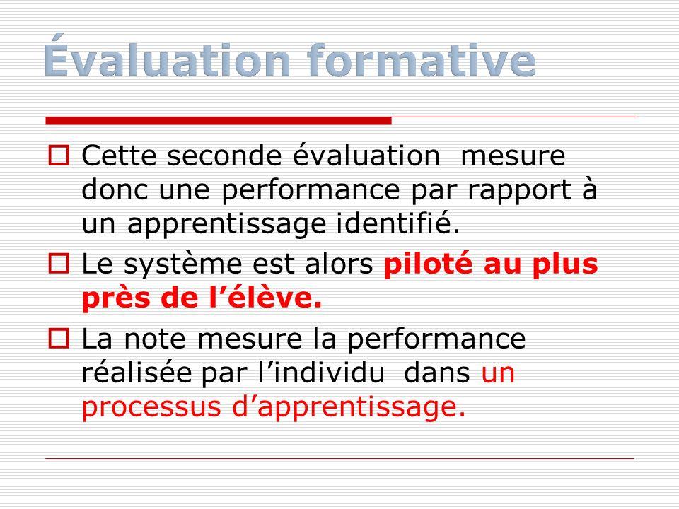 Cette seconde évaluation mesure donc une performance par rapport à un apprentissage identifié. Le système est alors piloté au plus près de lélève. La