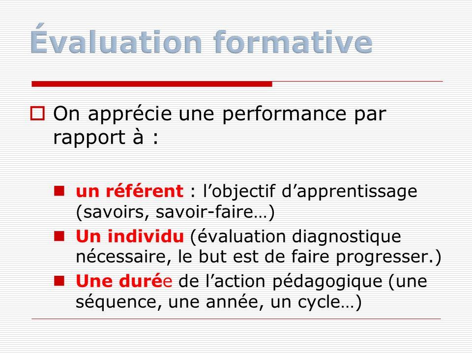 On apprécie une performance par rapport à : un référent : lobjectif dapprentissage (savoirs, savoir-faire…) Un individu (évaluation diagnostique néces