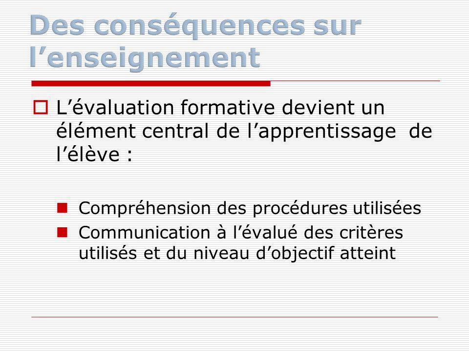 Lévaluation formative devient un élément central de lapprentissage de lélève : Compréhension des procédures utilisées Communication à lévalué des crit