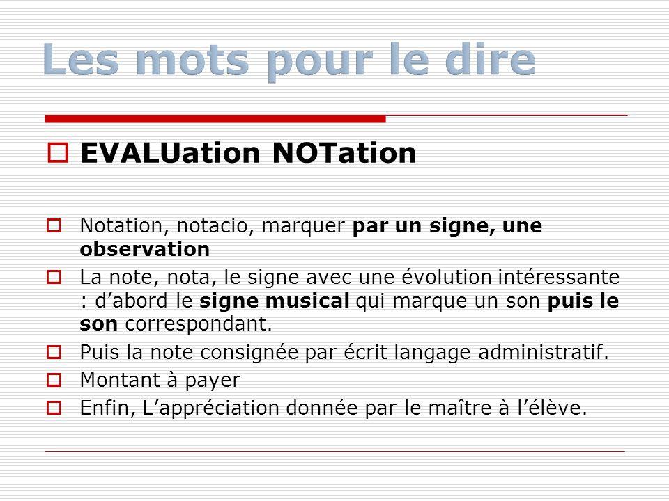EVALUation NOTation Notation, notacio, marquer par un signe, une observation La note, nota, le signe avec une évolution intéressante : dabord le signe