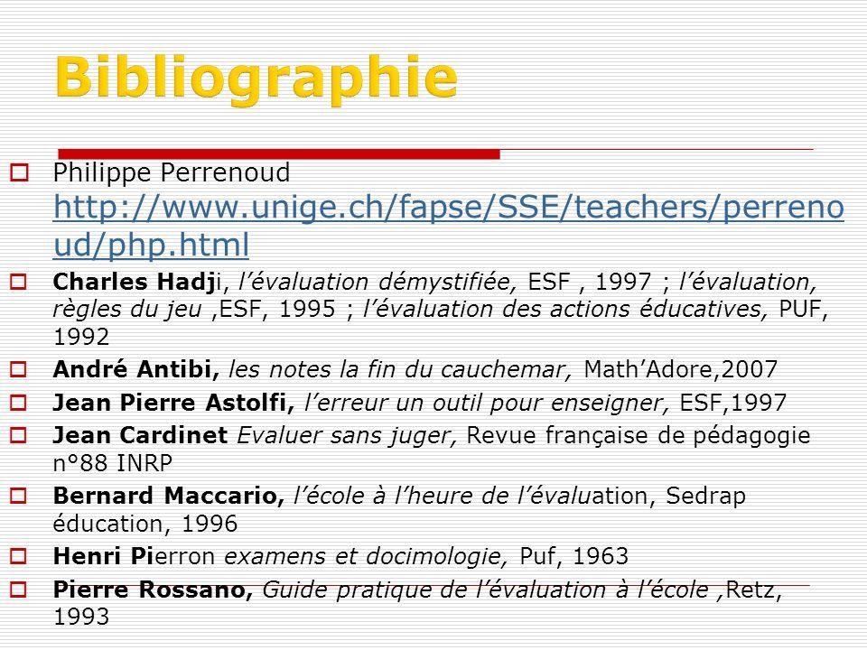Philippe Perrenoud http://www.unige.ch/fapse/SSE/teachers/perreno ud/php.html http://www.unige.ch/fapse/SSE/teachers/perreno ud/php.html Charles Hadji