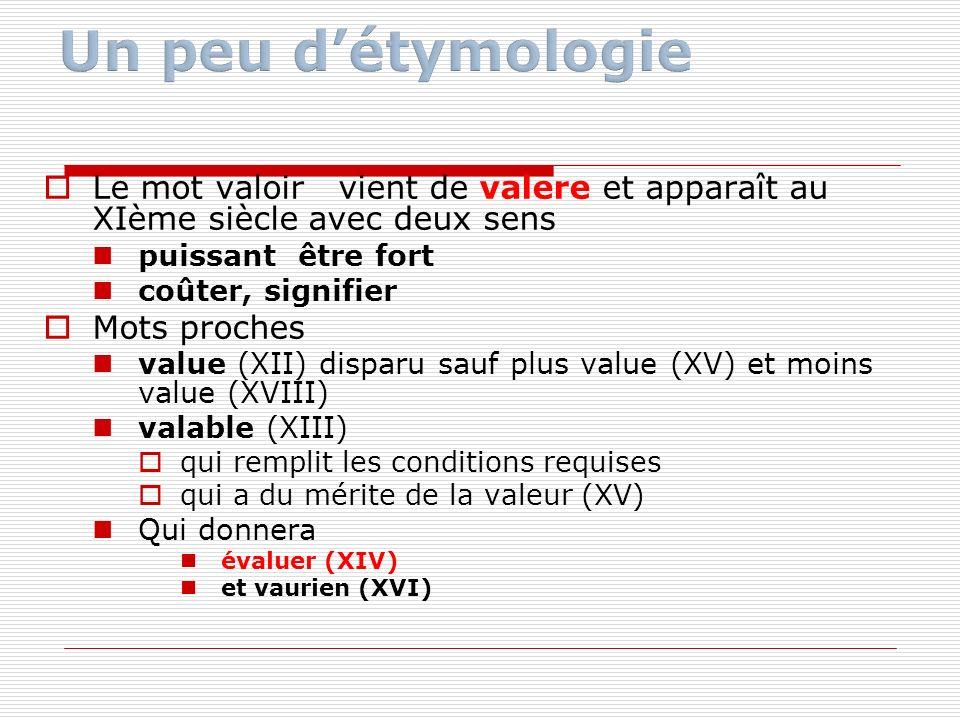 Le mot valoir vient de valere et apparaît au XIème siècle avec deux sens puissant être fort coûter, signifier Mots proches value (XII) disparu sauf pl