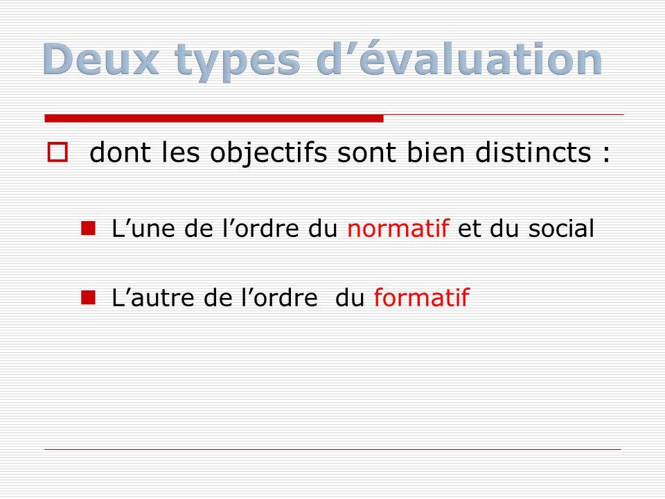 La première évaluation dite sommative mesure une performance par rapport à une norme et on peut donc classer.