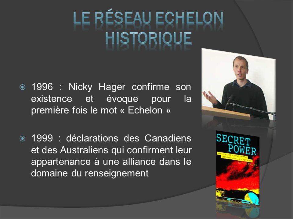 1996 : Nicky Hager confirme son existence et évoque pour la première fois le mot « Echelon » 1999 : déclarations des Canadiens et des Australiens qui confirment leur appartenance à une alliance dans le domaine du renseignement