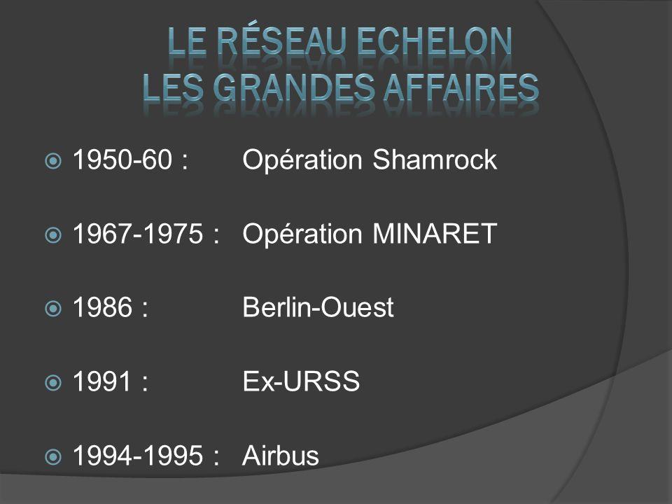 1950-60 : Opération Shamrock 1967-1975 : Opération MINARET 1986 : Berlin-Ouest 1991 : Ex-URSS 1994-1995 : Airbus