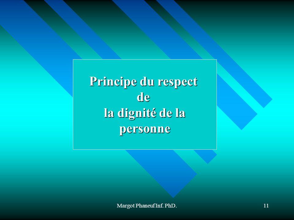 Margot Phaneuf Inf. PhD.11 Principe du respect de la dignité de la personne