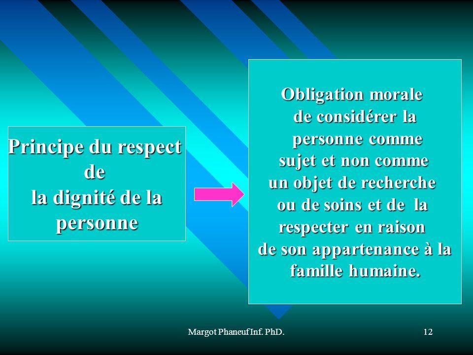 Margot Phaneuf Inf. PhD.12 Principe du respect de la dignité de la personne Obligation morale de considérer la personne comme personne comme sujet et