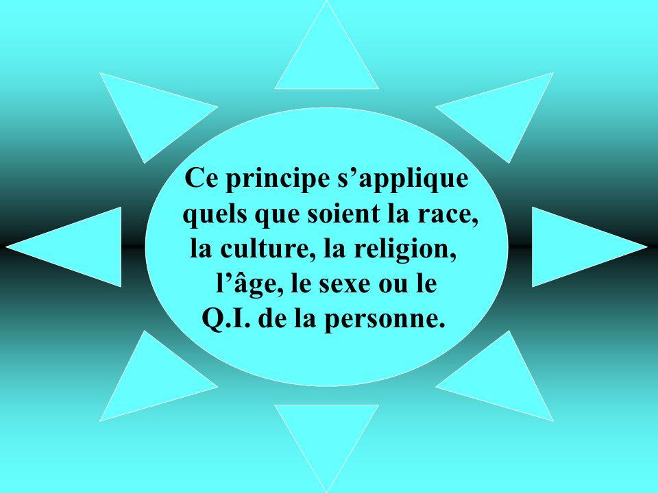 Ce principe sapplique quels que soient la race, la culture, la religion, lâge, le sexe ou le Q.I. de la personne.