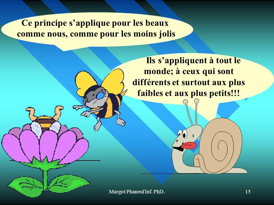 Margot Phaneuf Inf. PhD.15 Ils sappliquent à tout le monde; à ceux qui sont différents et surtout aux plus faibles et aux plus petits!!! Ce principe s