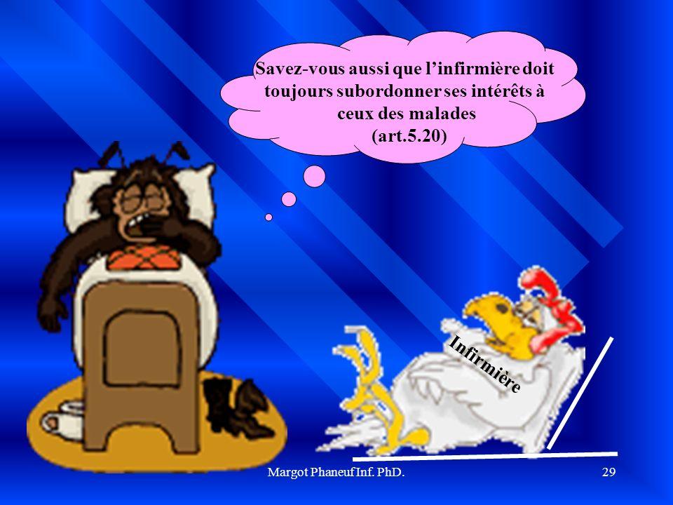 Margot Phaneuf Inf. PhD.29 Savez-vous aussi que linfirmière doit toujours subordonner ses intérêts à ceux des malades (art.5.20) Infirmière