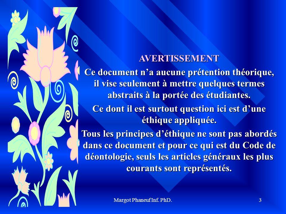 Margot Phaneuf Inf. PhD.3 AVERTISSEMENT Ce document na aucune prétention théorique, il vise seulement à mettre quelques termes abstraits à la portée d
