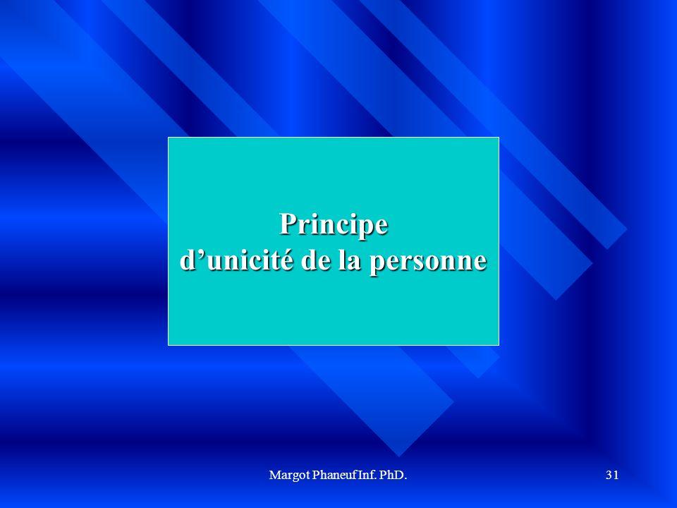 Margot Phaneuf Inf. PhD.31 Principe dunicité de la personne