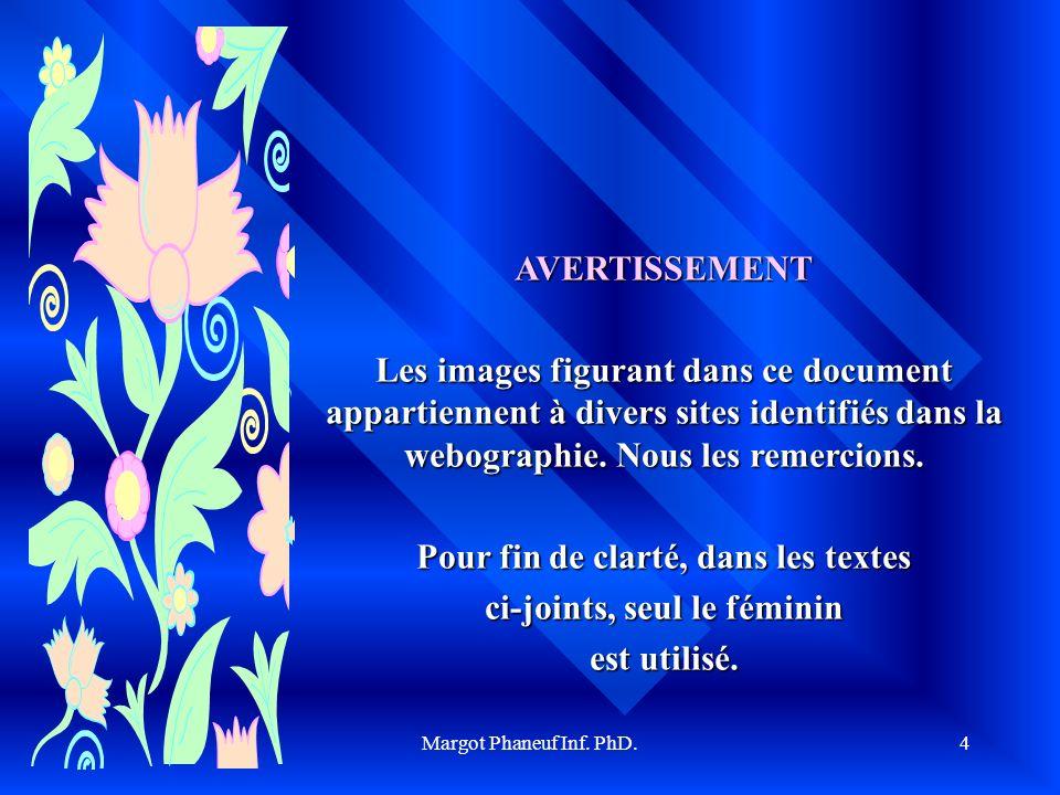 Margot Phaneuf Inf. PhD.4 AVERTISSEMENT Les images figurant dans ce document appartiennent à divers sites identifiés dans la webographie. Nous les rem