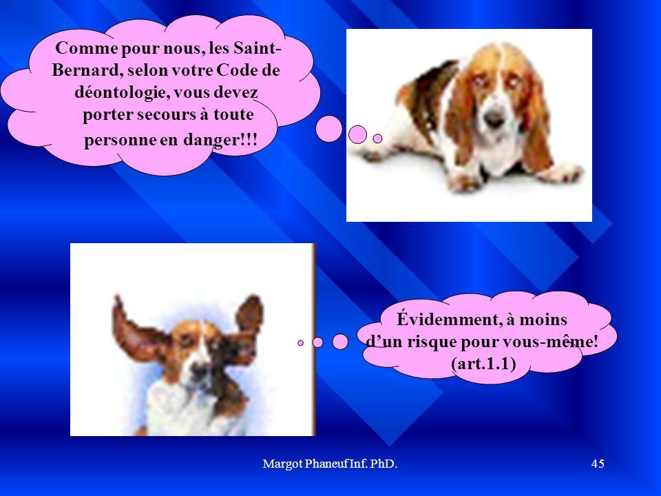 Margot Phaneuf Inf. PhD.45 Comme pour nous, les Saint- Bernard, selon votre Code de déontologie, vous devez porter secours à toute personne en danger!