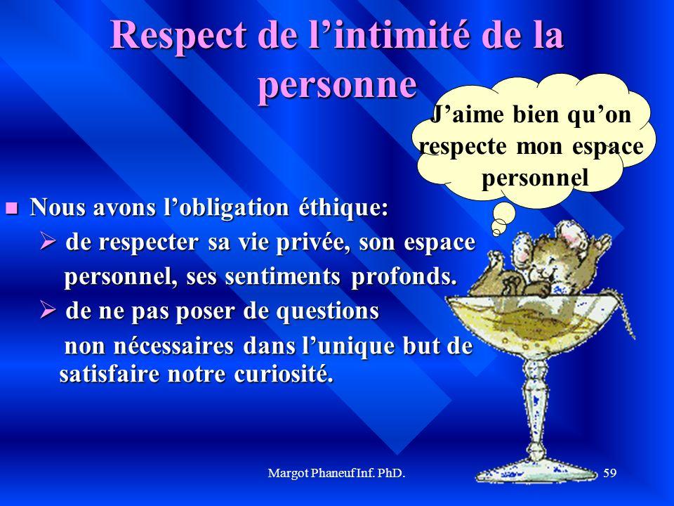 Margot Phaneuf Inf. PhD.59 Respect de lintimité de la personne Nous Nous avons lobligation éthique: de respecter sa vie privée, son espace personnel,